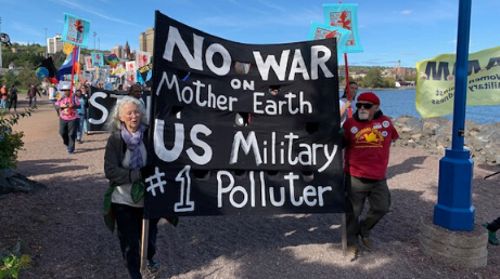 Banner - No War on Mother Earth - U.S. Military #1 Polluter