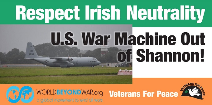 Banner that says Respect Irish Neutrality