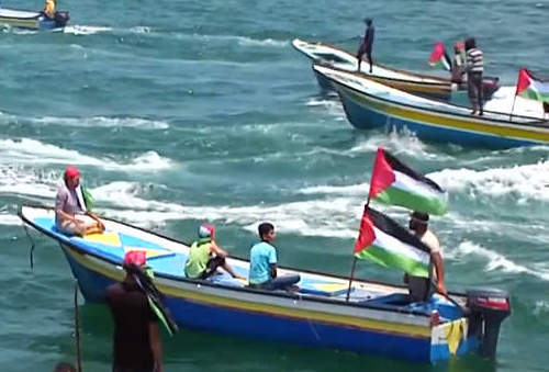Boats in Gaza with Palestine flag