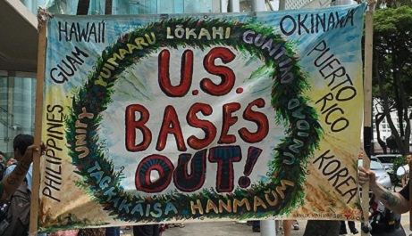 Banner that says US Bases Out