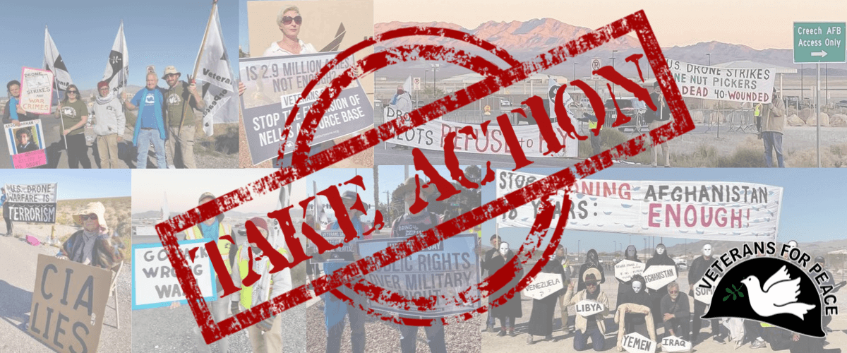 Collage of images from actions in Las Vegas that says Take Action